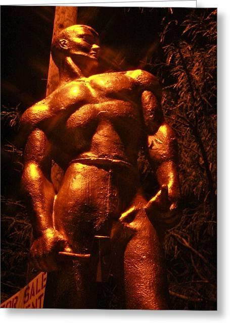 Bisbee Greeting Cards - Copper Man Greeting Card by Angie Wingerd