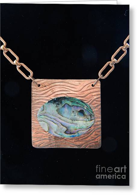 Mother Jewelry Greeting Cards - Copper Pearl Pendant Greeting Card by Patricia  Tierney