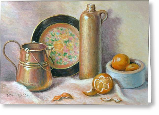 Tangerine Pastels Greeting Cards - Copper Pot with Tangerines Greeting Card by Theresa Shelton