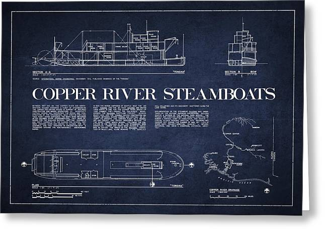 Copper Greeting Cards - Copper River Steamboats Blueprint Greeting Card by Aged Pixel