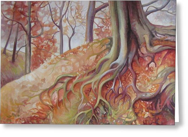 Tree Roots Paintings Greeting Cards - Copper rustle Greeting Card by Elena Oleniuc