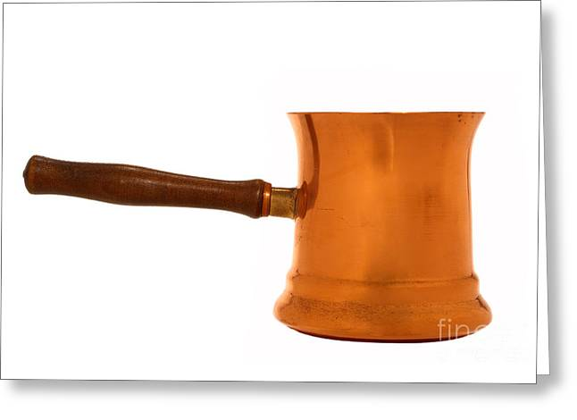 Pan Greeting Cards - Copper Sauce Pan Greeting Card by Olivier Le Queinec