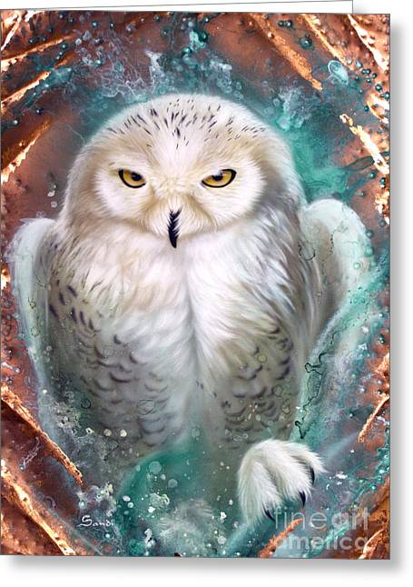 Copper Greeting Cards - Copper Snowy Owl Greeting Card by Sandi Baker