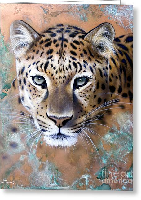 Copper Greeting Cards - Copper Stealth - Leopard Greeting Card by Sandi Baker