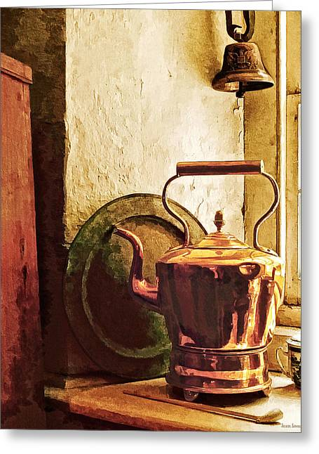 Bell Greeting Cards - Copper Tea Kettle on Windowsill Greeting Card by Susan Savad