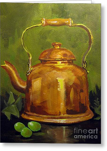 Copper Teakettle Greeting Card by Carol Hart