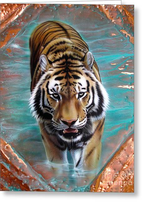 Copper Greeting Cards - Copper Tiger 3 Greeting Card by Sandi Baker