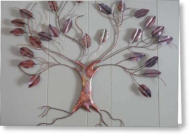Nature Art Reliefs Greeting Cards - Copper Tree Greeting Card by Jessica Dietz