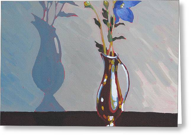 Balloon Flower Paintings Greeting Cards - Copper Vase Greeting Card by Dorothy Jenson