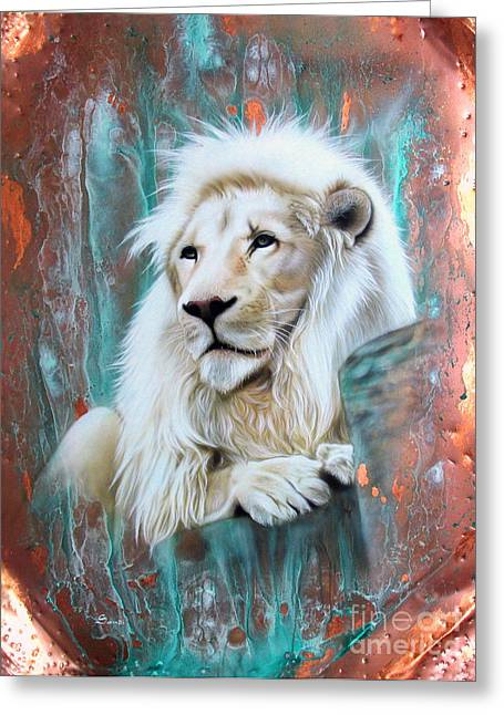 Copper Greeting Cards - Copper White Lion Greeting Card by Sandi Baker