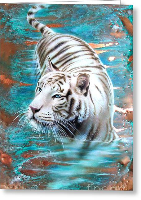 Copper Greeting Cards - Copper White Tiger Greeting Card by Sandi Baker