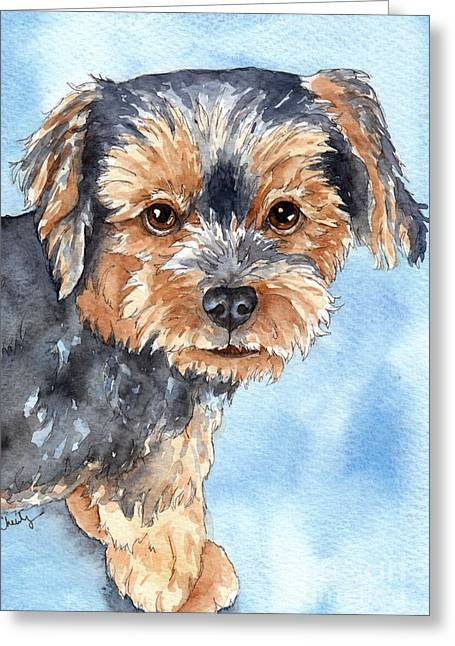 Toy Dogs Paintings Greeting Cards - Copper Yorkie Yorkshire Terrier dog watercolor Greeting Card by Cherilynn Wood