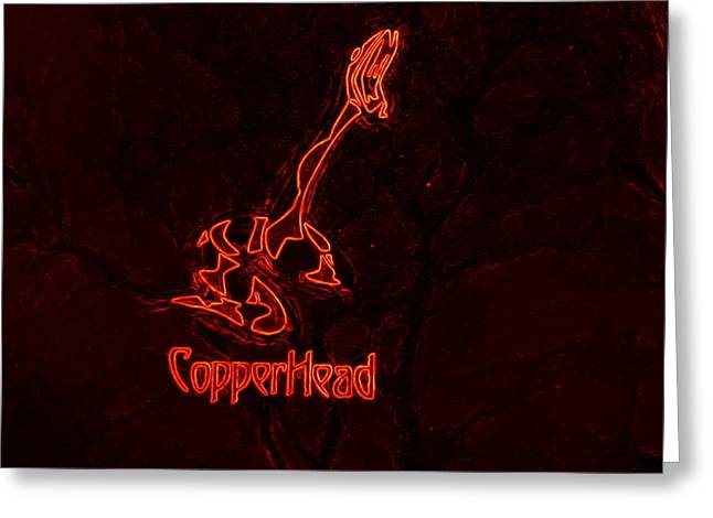 Copperhead Greeting Card by Rosemarie E Seppala