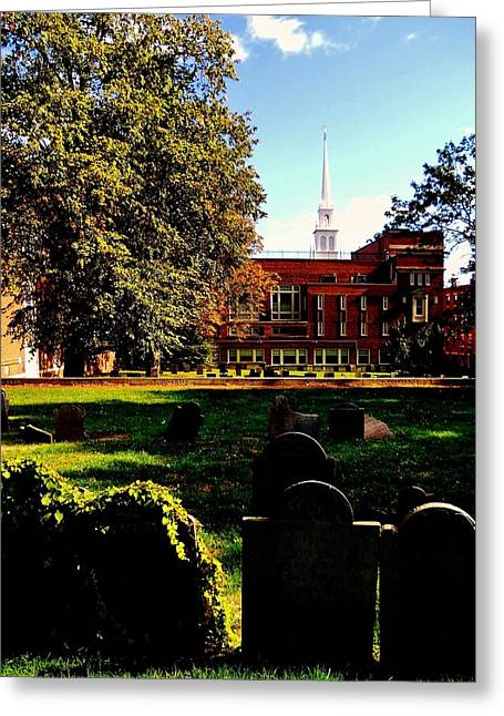 Old North Church Greeting Cards - Copps Hill Greeting Card by Benjamin Yeager