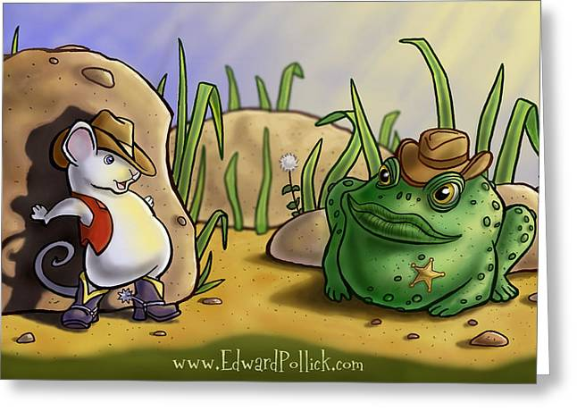 Wacom Tablet Greeting Cards - Cops and Robbbers Greeting Card by Edward Pollick