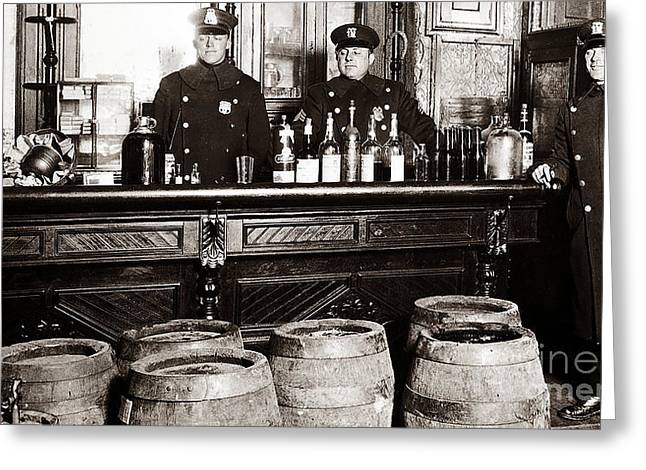 Prohibitions Greeting Cards - Cops at the Bar Greeting Card by Jon Neidert