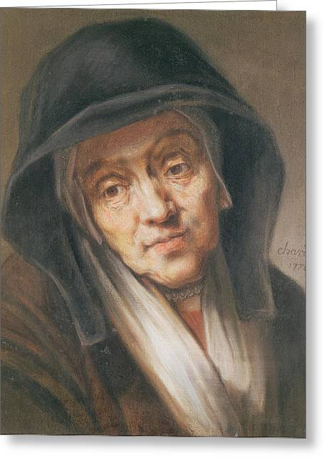 Homage Greeting Cards - Copy Of A Portrait By Rembrandt Of His Mother, 1776 Pastel On Paper Greeting Card by Jean-Baptiste Simeon Chardin