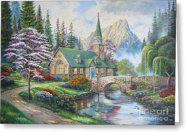 Dogwood Lake Greeting Cards - copy of Dogwood Chapel Greeting Card by Elena Yalcin
