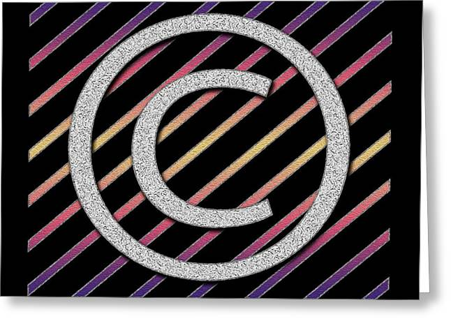 Copyrighted Greeting Cards - Copyright Symbol digital painting Greeting Card by Georgeta Blanaru