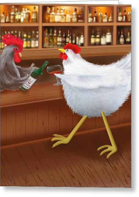 Canvas Wine Prints Digital Greeting Cards - Coq au vin Greeting Card by Marlene Watson