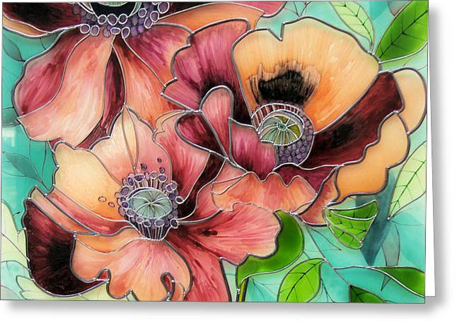 Floral Glass Greeting Cards - Coquelicot Greeting Card by Sharon Cox