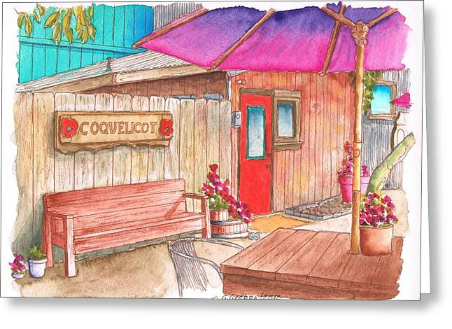 Red Wine Prints Greeting Cards - Coquelicot Tasting Room in Los-Olivos - California Greeting Card by Carlos G Groppa