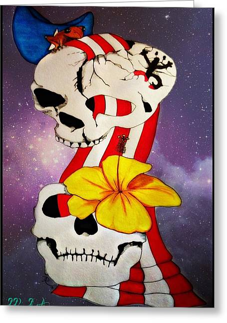 Coqui Greeting Cards - Coqui skull Greeting Card by Ichiamary Ruiz