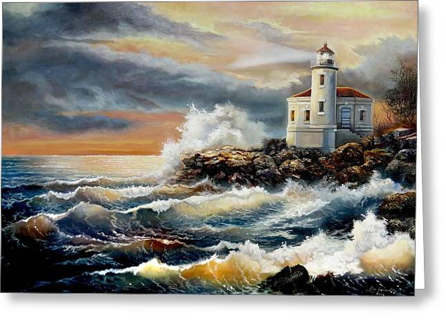 Park Scene Paintings Greeting Cards - Coquille River Lighthouse at HighTide Greeting Card by Gina Femrite
