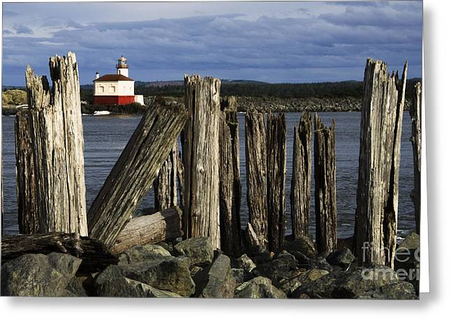 Lighthouse By The Sea Greeting Cards - Coquille Lighthouse Oregon 3 Greeting Card by Bob Christopher
