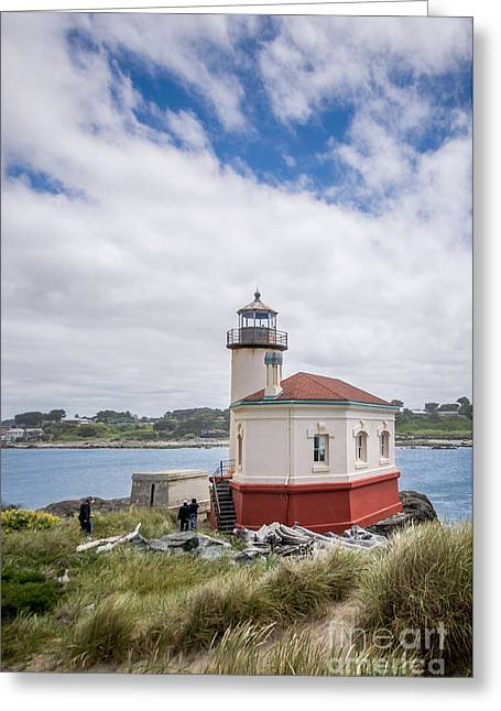 Blue Green Water Greeting Cards - Coquille River Lighthouse 2 Greeting Card by Al Andersen