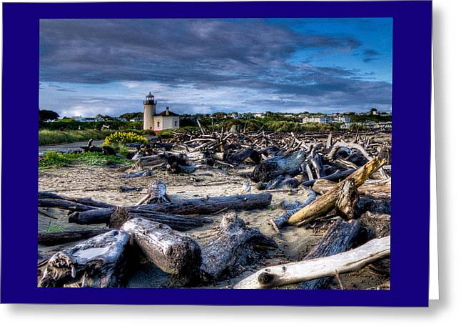 Digital Photography Greeting Cards - Coquille River Lighthouse And Driftwood Greeting Card by Thom Zehrfeld