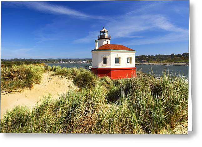 Joe Klune Greeting Cards - Coquille river lighthouse Greeting Card by Joe Klune