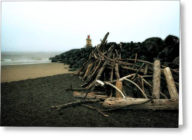 Foggy Beach Greeting Cards - Coquille River South Jetty Greeting Card by Michelle Calkins