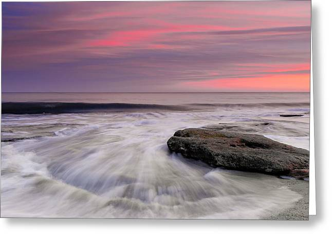 Ocean Art. Beach Decor Greeting Cards - Coquina Rocks Washed by Ocean Waves At Colorful Sunset Greeting Card by Jo Ann Tomaselli
