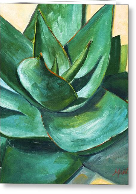 Succulents Greeting Cards - Coral Aloe 1 Greeting Card by Athena Mantle