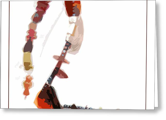 Coral and Black Glass Beads Greeting Card by Gretchen Wrede