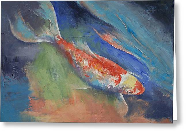 Butterfly Koi Greeting Cards - Coral and Moonstone Greeting Card by Michael Creese