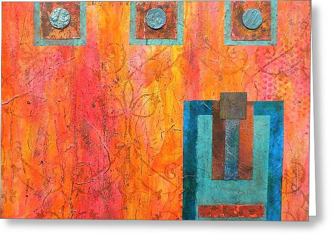 Geometric Effect Greeting Cards - Coral and Turquoise Greeting Card by Debi Starr