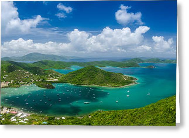 Sailboat Art Greeting Cards - Coral Bay with View of British Virgin Islands Greeting Card by Kelly VanDellen