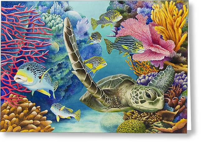 Under The Sea Greeting Cards - Coral Canyon Greeting Card by Carolyn Steele