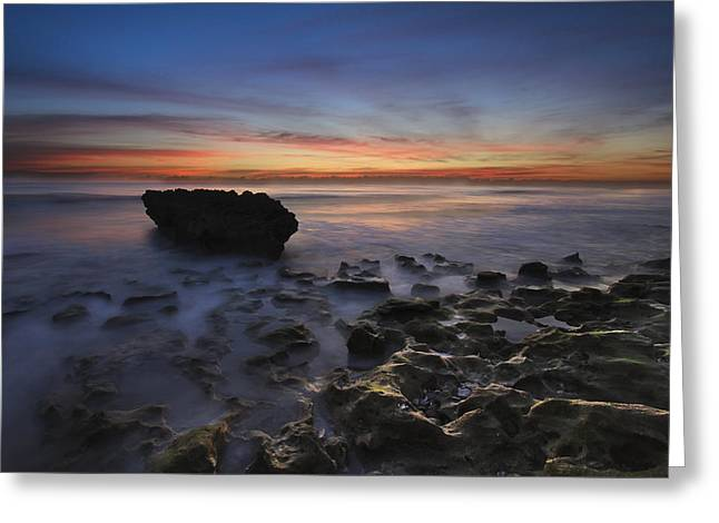 Caves Greeting Cards - Coral Cove Beach at Dawn Greeting Card by Debra and Dave Vanderlaan