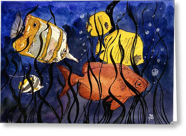 Coral Fishes Seaweed Greeting Card by Juan  Bosco