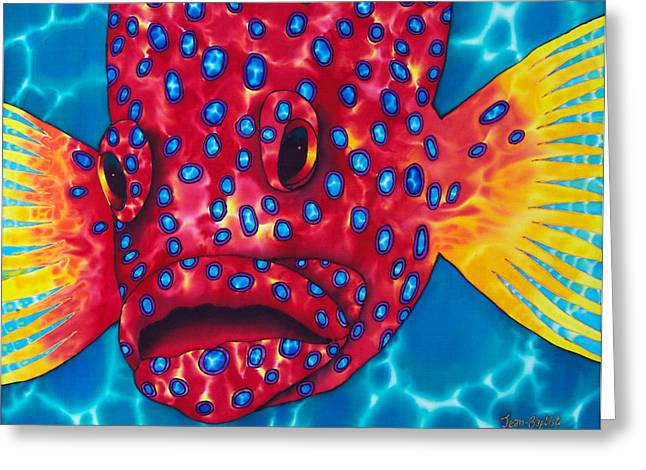 Print Tapestries - Textiles Greeting Cards - Coral Grouper Greeting Card by Daniel Jean-Baptiste
