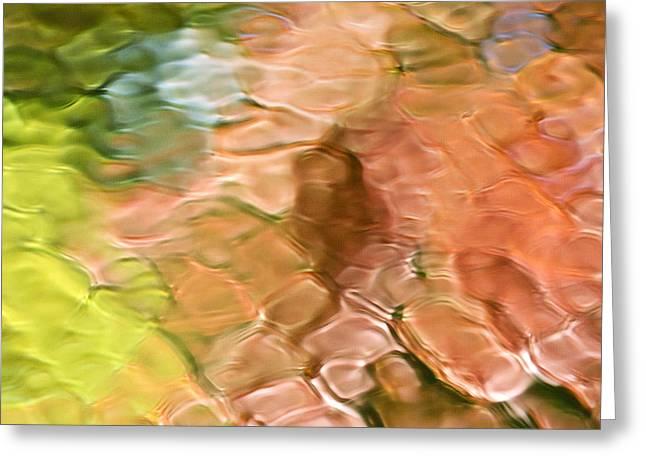 Vivid Colour Mixed Media Greeting Cards - Coral Mosaic Abstract Square Greeting Card by Christina Rollo