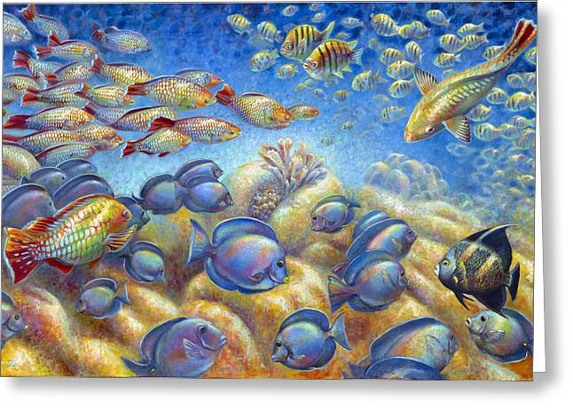 Tang Greeting Cards - Coral Reef Life Greeting Card by Nancy Tilles