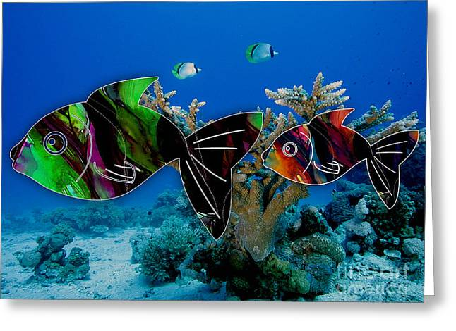 Coral Reef Painting Greeting Card by Marvin Blaine