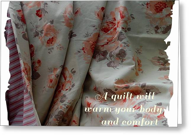 Stripe Tapestries - Textiles Greeting Cards - Coral Rose Quilt with Quote Greeting Card by Barbara Griffin