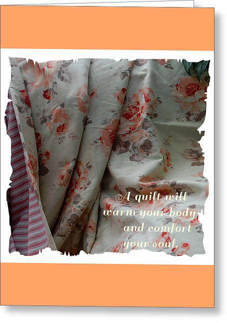 Coral Rose Quilt With Quote Greeting Card by Barbara Griffin