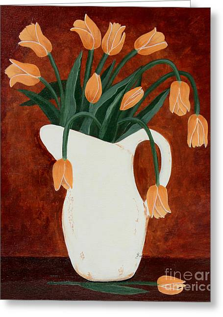 Coral Tulips In A Milk Pitcher Greeting Card by Barbara Griffin
