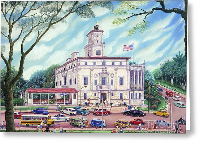 Park Scene Paintings Greeting Cards - Corale Gables City Hall Greeting Card by Colette Raker